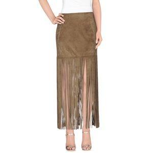 Unreal Fur Fringe Faux Suede Skirt Black S NWT